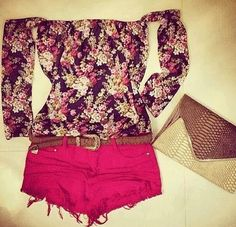 Red shorts with floral fitted top