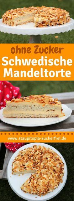 So kannst du eine köstliche Low Carb schwedische Mandeltorte backen. Die Mandeltorte besteht aus zwei leichten und eiweißreichen Low Carb Kuchenböden sowie einer super cremigen Low Carb Vanillecreme. Die perfekte Kombination also für die perfekte Low Carb Torte - natürlich glutenfrei und ohne Zucker! Das Rezept für die schwedische Mandeltorte findest du auf www.staupitopia-zuckerfrei.de #lowcarbbacken #kuchenohnezucker #glutenfrei #staupitopia #lowcarbrezepte #mandeln