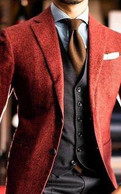 Blazer Outfits Men, Mens Fashion Blazer, Stylish Mens Outfits, Suit Fashion, Red Blazer, Mode Costume, Designer Suits For Men, Herren Outfit, Mode Masculine