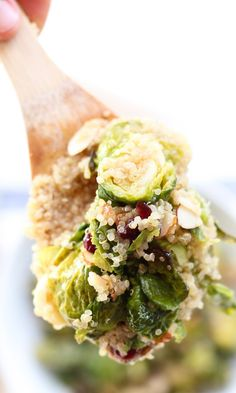 Maple Roasted Brussel Sprout Quinoa Salad with Dried Cranberries and ...