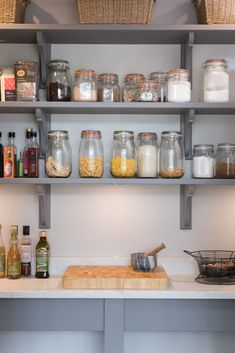 Open artisan shelving is ideal for storing kilner jars, bottles and large packets of baking ingredients. Perfect for keeping the main kitchen clear of unwanted clutter. Kitchen Larder, Larder Cupboard, Kitchen Pantry Design, Kitchen Store, Kitchen Paint, Kitchen Shelves, Kitchen Decor, Kitchen Ideas, Prep Kitchen