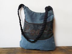 bohemian blue tote bag jeans shoulderbag boho bag by SKmodell