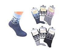 df8b5dfe4b48cb 3er oder 6er Pack Damen Thermo-Socken Frottee Schneekristall Motiv Norweger-Muster  Schneeflocke warme