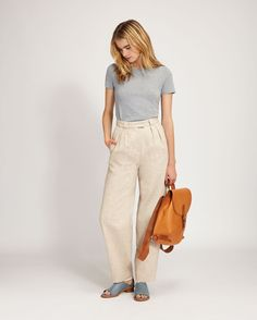 Pleat top wool trousers. Ayame Trouser | Toast