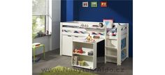 Alvarez European Single Mid Sleeper Bed with Bookcase and Desk Harriet Bee Colour: White Cabin Bed With Desk, Cabin Beds For Kids, Cabin Bunk Beds, Futon Bunk Bed, Loft Beds, Pine Desk, Convertible Toddler Bed, Play Beds, High Sleeper Bed