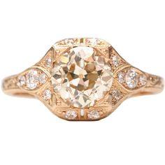 Sweet Rose Gold Engagement Ring   1stdibs.com