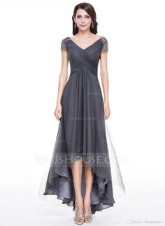 Hot 2017 Mother Of The Bride Formal V Neck Short Sleeve A Line High-Low With Beaded Chiffon Grey Mother Groom Dresses Plus Size