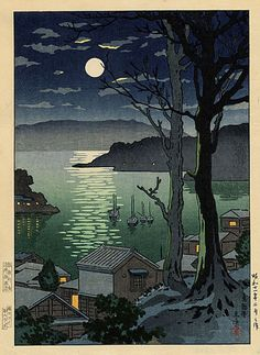 Tsuchiya Koitsu  Title: Maizuru Harbor at Night #Koitsu