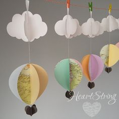 6 Hot Air Balloon Decoration-oh the places you will go-baby shower decorations-party decorations-first birthday- scandi baby