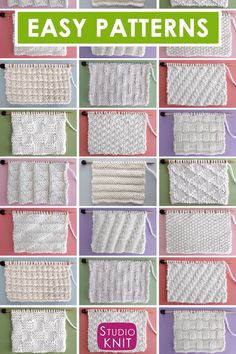 Knit Stitch Patterns for Beginning Knitters : Enjoy selecting Knit and Purl Stitch Patterns with Free Patterns and Video Tutorials for Absolute Beginning Knitters by Studio Knit. Knitting Books, Knitting Videos, Knitting Charts, Easy Knitting, Knitting For Beginners, Knitting Stitches, Knitting Needles, Knitting Patterns Free, Stitch Patterns