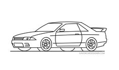 skyline nissan r32 gtr drawing draw sketch easy drawings sketches cars pencil jdm cool tips paintingvalley fast