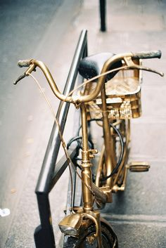 A gold bike! I would love to have one to cycle around Paris someday.