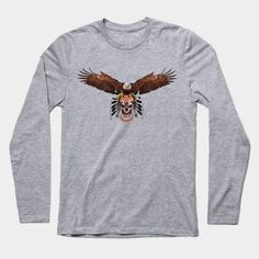 indian native white head eagle sugar Skull  Long Sleeve T-Shirt #teepublic #tee #tshirt #longsleeve #clothing #thedayofthedead #halloween #indianchief #chief #owls #sugarskull #skull #pattern #owl #nativeamerican #native #indian #diadelosmuertos #muertes #mexicanart #dayofdead #mexicoskull #mexicosugarskull