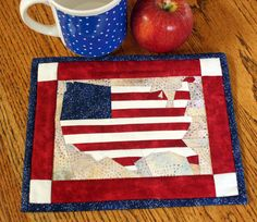 Patriotic USA Mini-Wallhanging or Mug Rug by MulberryPatchQuilts