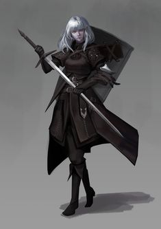 f Half Elf Rogue Thief Leather Armor Cloak Shield Longsword female undercity lg Dungeons And Dragons Characters, Dnd Characters, Fantasy Characters, Female Characters, Female Character Design, Character Drawing, Character Design Inspiration, Character Concept, Female Elf