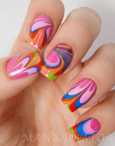 Tickled Watermarble Nail Art