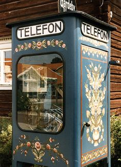 Dalarna, Sweden - I thought no phone booth could be cuter than a British red one...I was wrong!