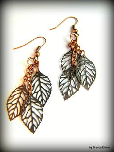 Falling Leaves Earrings in Antique Copper by byBrendaElaine, $12.00