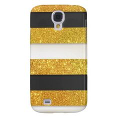 Girly Gold Glitter Black White Stripes Pattern Galaxy S4 Covers