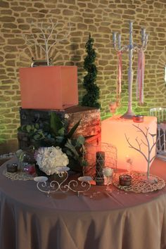 One day event, buffet décoration, in provence, peach and beige
