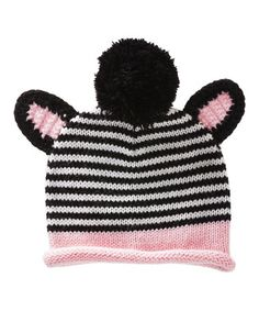 Another great find on #zulily! Pink & Black Zebra Pom-Pom Beanie #zulilyfinds