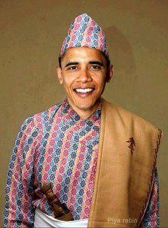 Obama in Nepali Dress