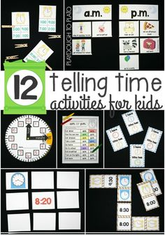 12 Telling Time Activities for Kids. Lots of fun ways to make telling time fun. Games, craftivities, no prep review sheets... loads of ideas!
