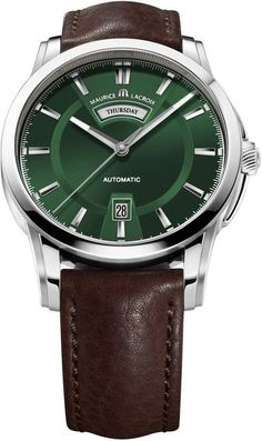 @mauricelacroix Watch Pontos Day Date #bezel-fixed #bracelet-strap-leather… - top 10 mens watches, cheap designer mens watches, mens wrist watches sale #menswatchesleather