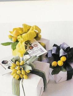 chartreuse wrapping .. use white freezer wrap or butcher paper to wrap your presents, faux fruit tied that to the ribbon