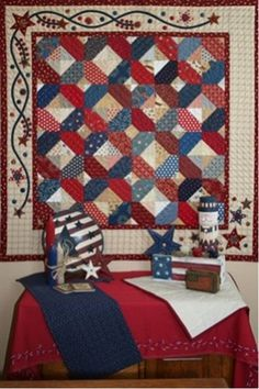 americana patriotic quilt, love star vine border