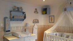 Scruffy bear nursery decor - walls painted neutral with cream/stone and custom printed scruffy bear wall border, the room is complemented with white wash furniture for a classic look. Contact us on Facebook - www.facebook.com/borderboutique.co.za