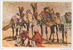 SAUDI ARABIA - CAMEL MEN IN THE DESERT - EDIT BASEM SAID SALAH - STAMP ( 179 ) - Saudi Arabia