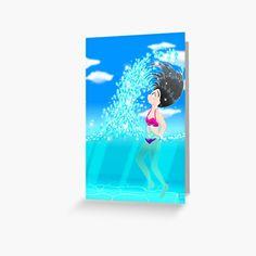'Beach Splash' Greeting Card by konapple