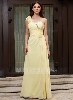 Evening Dresses - $136.99 - A-Line/Princess One-Shoulder Floor-Length Chiffon Evening Dress With Ruffle Beading Flower(s) (017026086) http://jjshouse.com/A-Line-Princess-One-Shoulder-Floor-Length-Chiffon-Evening-Dress-With-Ruffle-Beading-Flower-S-017026086-g26086