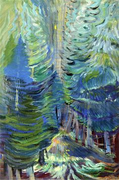 Forest, 1935 by Emily Carr on Curiator, the world's biggest collaborative art collection. Canadian Painters, Canadian Artists, Emily Carr Paintings, Group Of Seven Paintings, Digital Museum, Impressionist Art, Collaborative Art, Native American Art, Tree Art