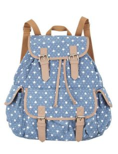 I hope someone in my family is taking notice i love HEARTS!!  PRINTED CANVAS BACKPACK, $29.50, DELIAS.COM