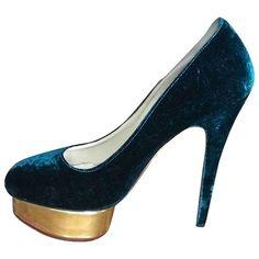 Dolly velvet heels Charlotte Olympia Green size 39.5 EU in Velvet - 8325932 Velvet Color, Green Velvet, Hand Dolly, Stiletto Heels, Shoes Heels, Charlotte Olympia, Luxury Consignment, Dust Bag, Peep Toe
