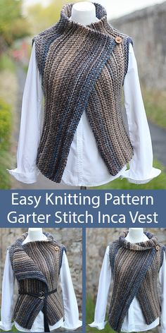 Easy Knitting Pattern for Garter Stitch Inca Vest Wrap Seamless Sideways in Super Bulky Yarn Easy Knitting Pattern for Garter Stitch Inca Vest Wrap Seamless sleeveless cardigan knit sideways in garter stitch and is versatile enough to be worn Easy Knitting Patterns, Knitting Blogs, Knitting For Beginners, Knitting Stitches, Knitting Yarn, Knitting Ideas, Sleeveless Cardigan, Knit Cardigan, Style Blazer