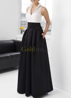 [US$195.99] Black And White V-Neck Satin Evening Dress------Mother of the bride dress????? I love it! And it has pockets for tissues ;)
