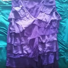 Purple party top Purple top Ruffles in the front Solid back Tops Tank Tops