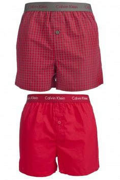 Calvin Klein Cotton Plain and Cheque Woven Boxer Shorts In Red  £34.99