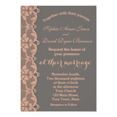 #Unique Vintage Peach Grey Lace Wedding Invitation - #rustic #wedding #marriage #bridal #weddingideas