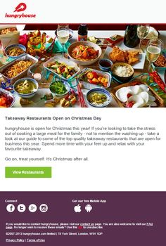 Hungry House reminds their subscribers that not all restaurants are closed on Christmas Holiday Emails, Open On Christmas, All Restaurants, Meals, Cooking, House, Kitchen, Meal, Home