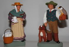 Les santons d'Isoline Fontanille - lady cheesemaker and falconner with falcon and dog Dame, Creations, Blog, Inspiration, Miniature, Truck, Camargue, Painting Classes, Craft Art