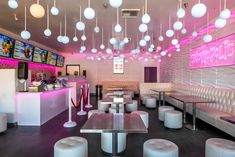 Project: Dessert Shop Location: Montebello and Moreno Valley, CA When the client first approached our studio for a complete rebranding, we sought to redefine how custom desserts were enjoyed… Bakery Decor, Bakery Interior, Cafe Interior Design, Bakery Design, Milkshake Shop, Bubble Tea Shop, Classic House Design, Modern Cafe, Shop Interiors
