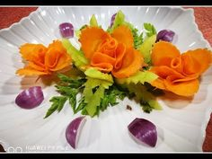 How to Mack carrot Rose - Tomato & shallots vegetable carving flower garnish - YouTube
