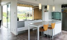 Omaha Beach House by Architecture Smith + Scully Ltd. Scully, Kitchen Designs, Beach House, Architecture, Table, Furniture, Home Decor, Beach Homes, Arquitetura