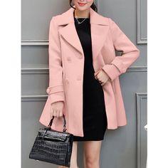 Lapel Collar Swing Peacoat (5310 RSD) ❤ liked on Polyvore featuring outerwear, coats, lapel coat, pea coat, pink peacoat, pea jacket and peacoat coat