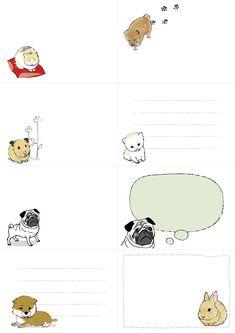 印刷素材.net/メモ用紙のテンプレート「動物」ダウンロード