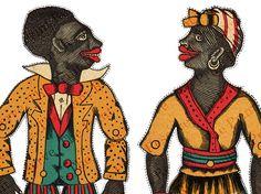 Antikes Papier Puppen Sambo & Dinah verbunden von ThePrintReserve